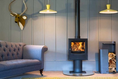 arada Farringdon Small pictured with Tower log store in Anthracite