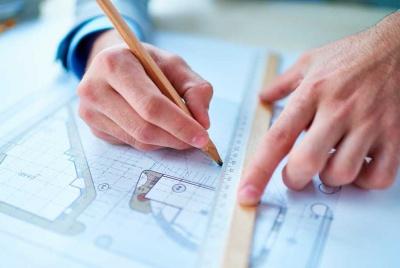 designer drawing houseplans