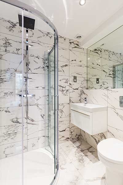 This Monochrome Bathroom Was Added To A Home In London As Part Of A Garage Conversion