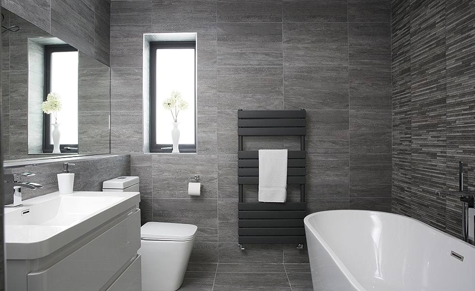 Contemporary Grey Bathroom In A Former Bedroom Real Homes