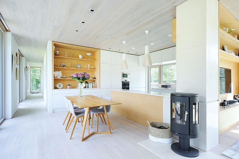Scandinavian style open plan kitchen diner