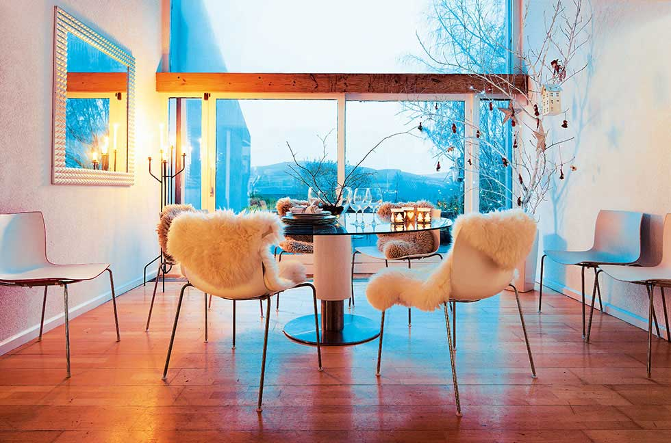 Scandinavian style dining table with great view