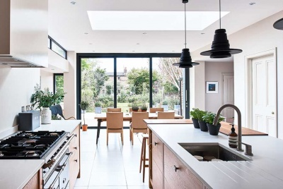 scandinavian interior in a rear extension