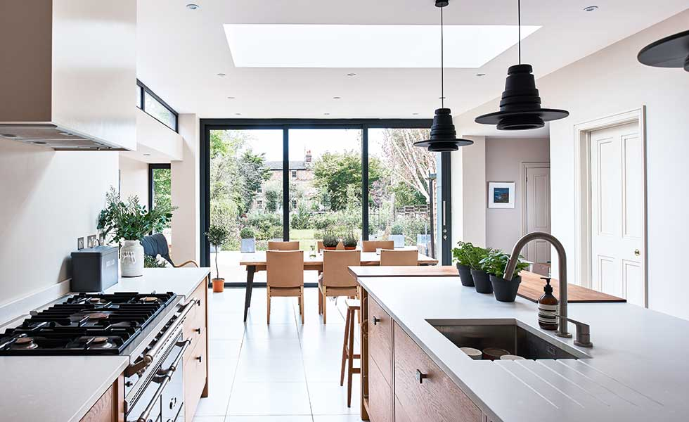 Modern rear extension with scandinavian design real homes for House extension interior designs