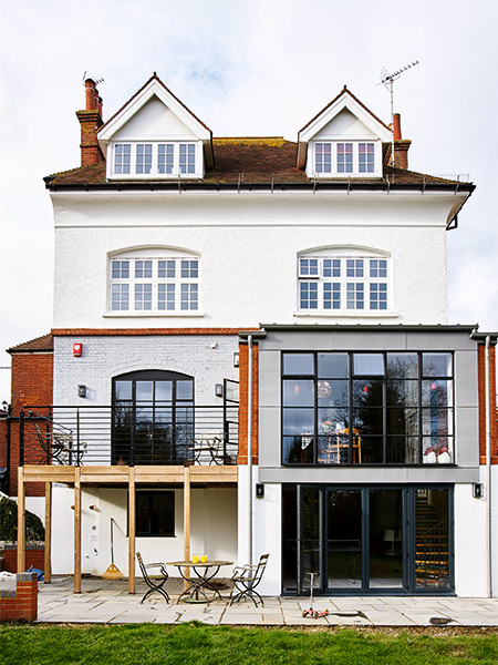 windows replaces as part of the extension to an eastern inspired home