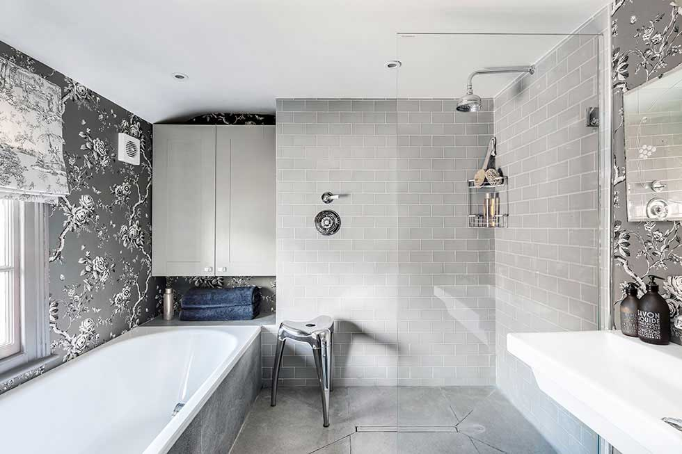 grey metro tiles in a bathroom