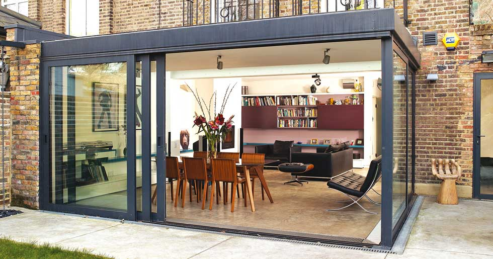Single storey extension with sliding glass doors