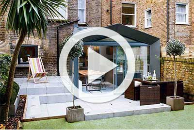 single storey extension with play button