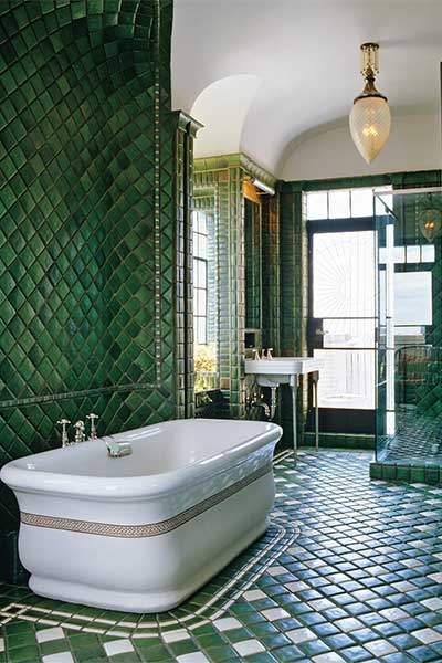 Bold green bathroom