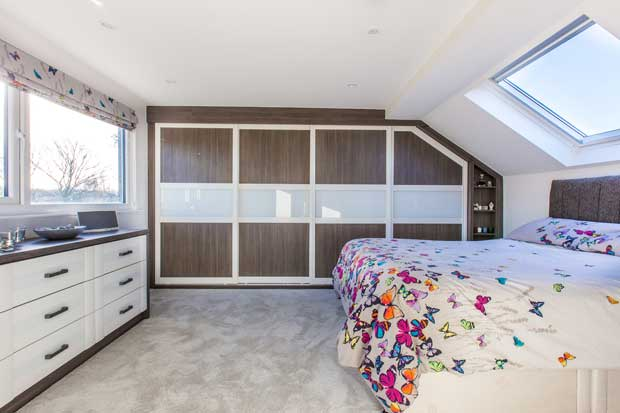 Loft extension with Velux windows and fitted wardrobes