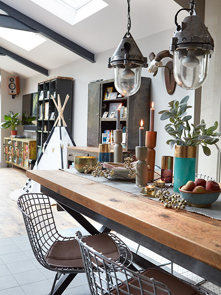 industrial style kitchen extension dining table