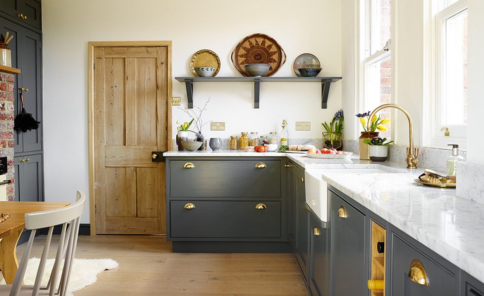 Deep grey country kitchen