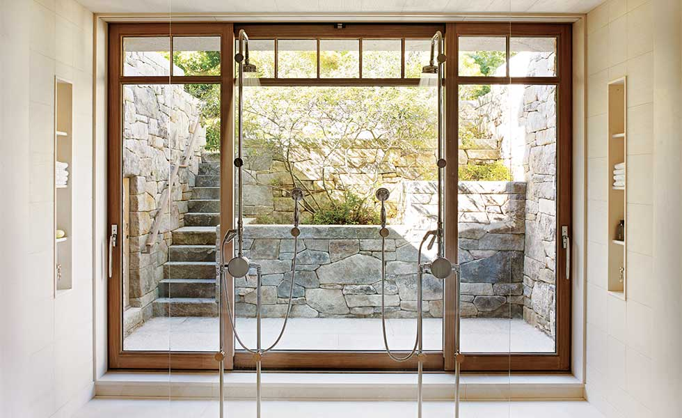 Shower with outdoor view