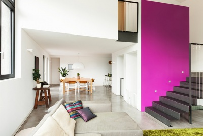 nu-heat underfloor heating pink wall concrete floor
