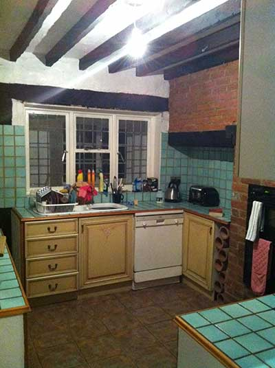 kitchen interior with tiled surfaces