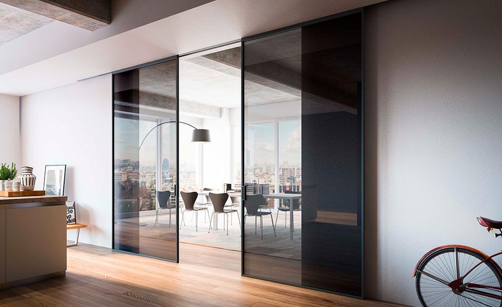 iq glass internal sliding glass doors black
