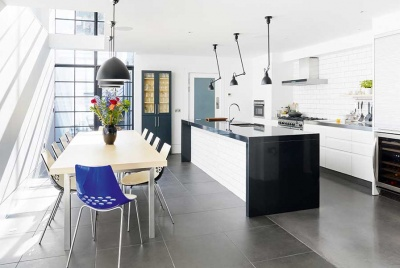 open plan kitchen diner in an edwardian terraced house
