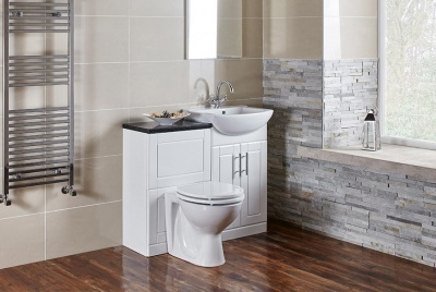 Frontline Bathrooms' traditional floor-standing Aquachic bathroom furniture in high gloss white.