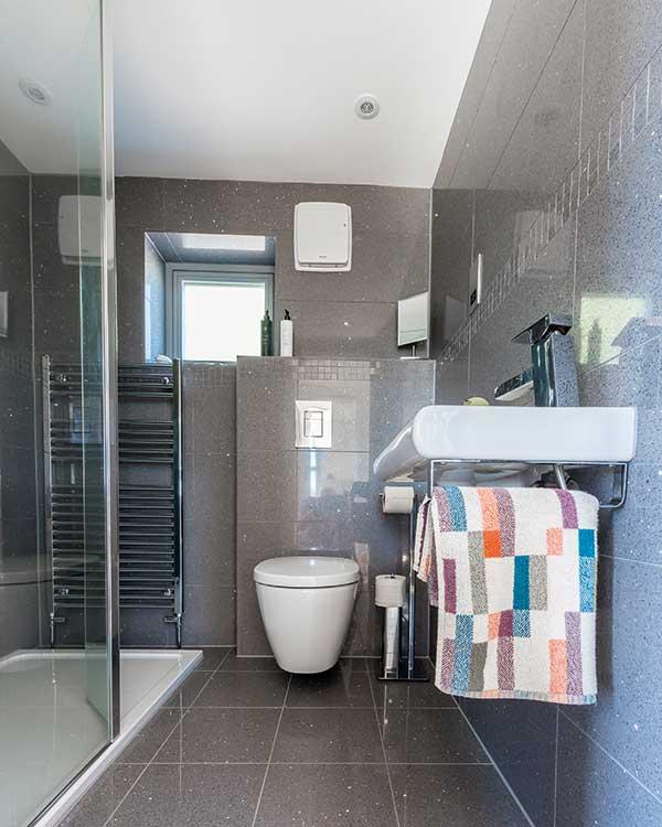 Black bathroom in a contemporary annexe