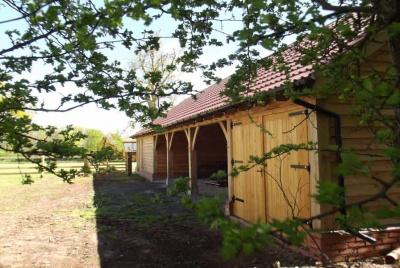 heritage oak frames 6 bay Oak framed garage barn bespoke joinery