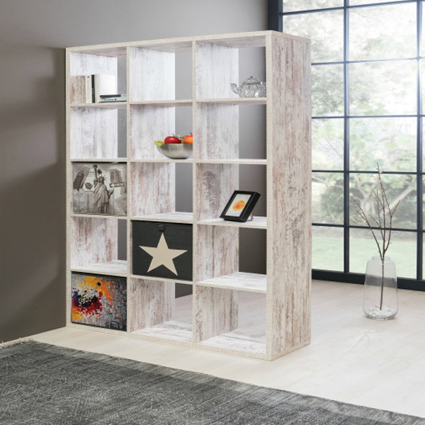 The Version Shelving Unit – seen here in Fresco Oak – can be used as a room divider while offering valuable storage space. £149.95, furnitureinfashion.net