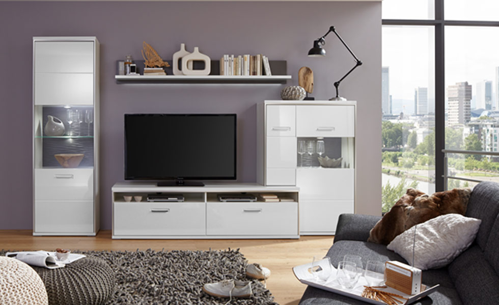 The Libya Living Room Set 6 comes in high gloss white, with a combination of solid and glass doors to show off prized possessions, but hide remotes and DVDs. It includes LED spotlighting and soft close doors. Priced from £1,389.95, furnitureinfashion.net