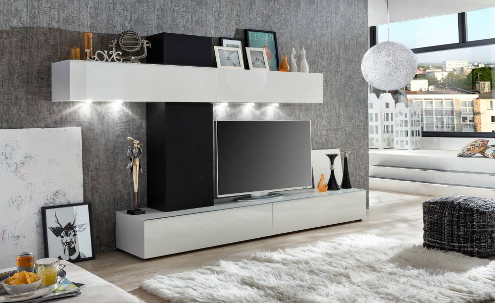 he Bremen Living Room Wall Unit features two wall-mounted units and two floor standing TV units in gloss white. The Brement Midsection in black acoustic fabric makes this combination perfect for a multimedia area. Priced from £499.95, furnitureinfashion.net