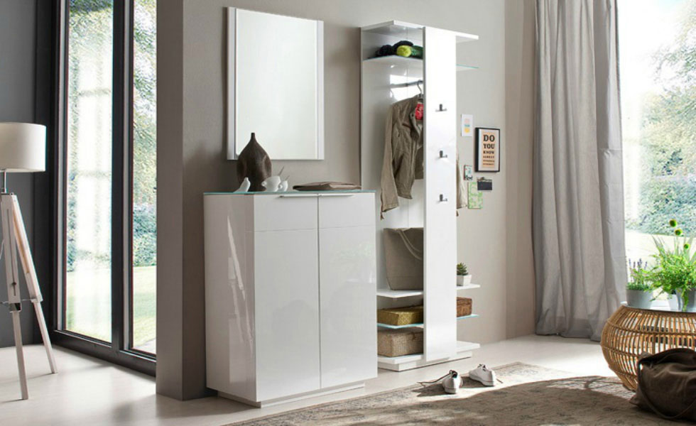 The Canberra Wall-Mounted Hallway Stand is here pictured as a set with the Canberra Shoe Cabinet and wall mirror. The hallway stand alone is £359.95, or buy as a set with the other items for £759.95, furnitureinfashion.net
