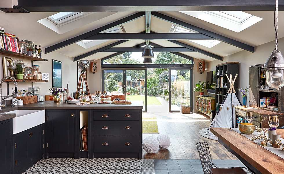 open plan kitchen diner and living area