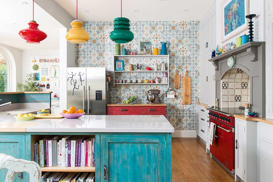 colourful kitchen with patterned tiles