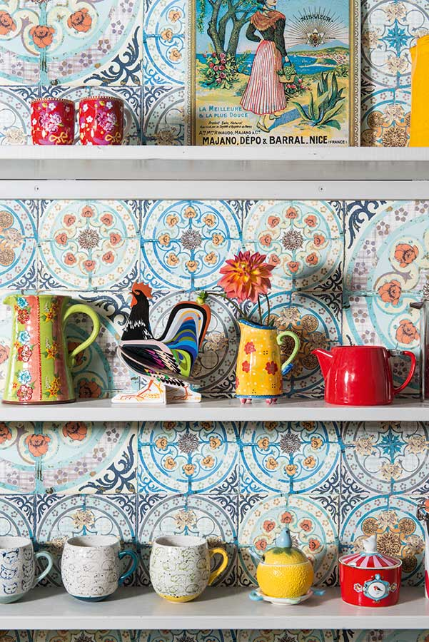patterned tiles and shelves