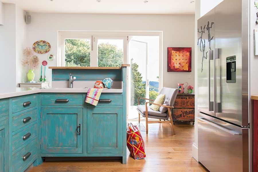 blue kitchen and windows