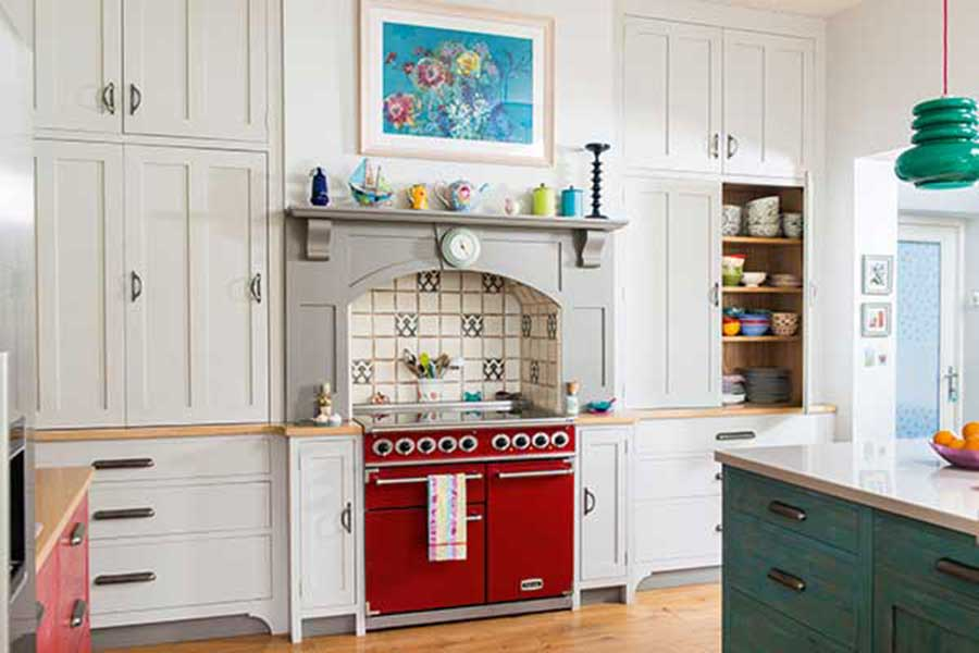 red oven in kitchen