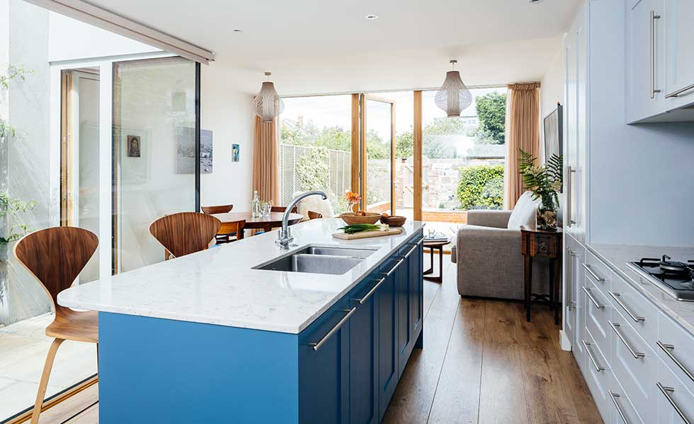 blue island and wooden stools
