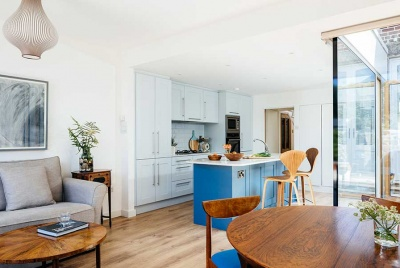 blue island in white kitchen