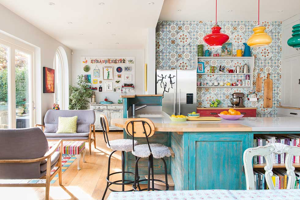 colourful living area in kitchen diner