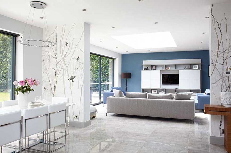 cool blue diniing and living area