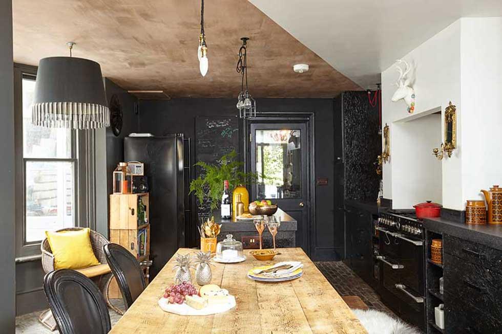 dark bold kitchen diner