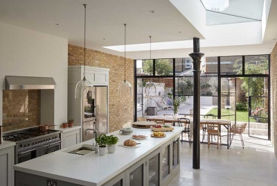 bright open plan kitchen diner