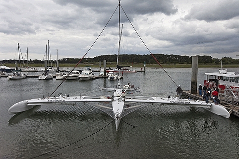 The hulls of the 60ft trimaran are designed to lift out of the water simultaneously to reduce drag