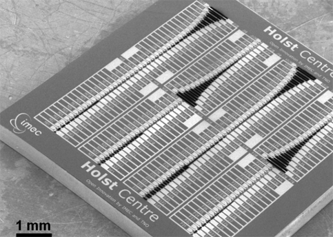 Scanning electron microscope image of a complete sensor chip (9mm x 9mm) consisting of 160 unique individually addressable micromechanical resonators