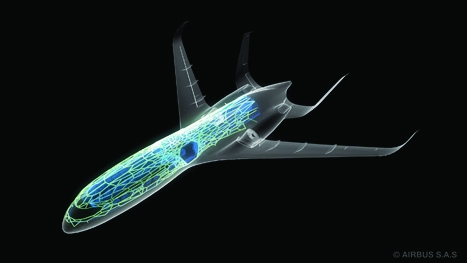 Forward looking: Airbus's future aircraft configuration includes laminar wings and a tail design to minimise engine noise