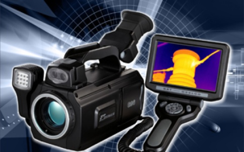This image shows the G96 thermography camera with its LCD screen