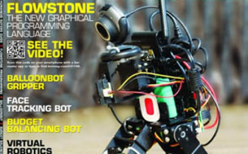 This magazine includes a feature about an epic robot battle programmed using the Flowstone graphical programming language