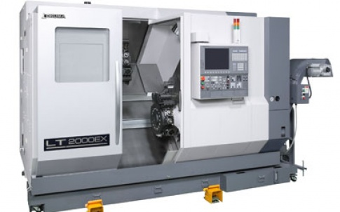 The LT2000-EX has two opposing C-axis spindles and three turrets moving in X, Y and Z, making a total of 11 CNC axes