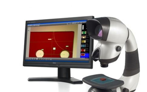 Dimensionone imaging software is shown here with Vision Engineering's Mantis stereo inspection microscope with the bench stand option and touchscreen monitor