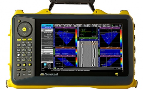 The Veo 16:128 phased array ultrasonic flaw detector addresses 128 probe elements for inspection and enables operators to connect larger single probes or multiple probes to the instrument
