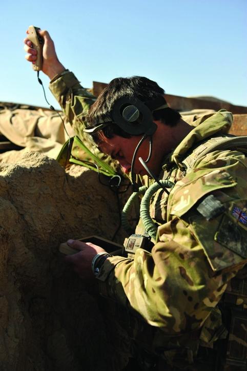 Soldier Operating Black Hornet Nano UAV Helicopter