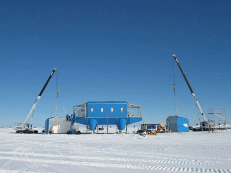 Sited on a pristine floating ice shelf in Antarctica, the world's first fully-relocatable, permanently manned research station, Halley VI, sits on skis and is designed to lift itself out of rising snow. Successful delivery in one of the harshest and remot