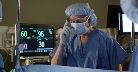 The technology enables surgeons to monitor a patient's vital signs without looking away